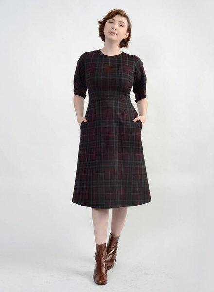 Pleated Sleeve Dress - Plaid