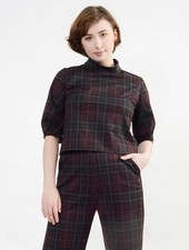 Pleated Sleeve Top - Plaid