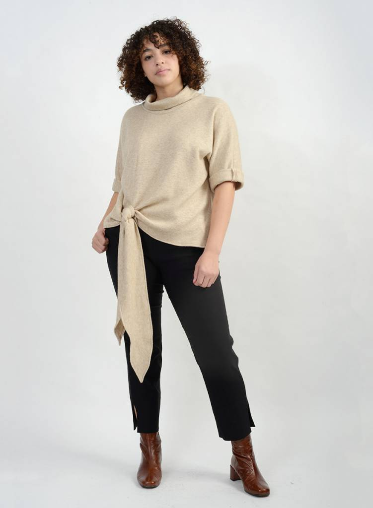 Knit Tie Front Sweater - Beige