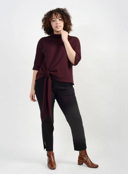 Knit Tie Front Sweater - Porto