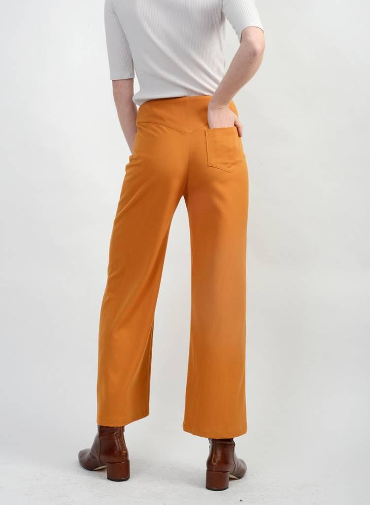 Gabardine Wide Leg Pant - Antique Gold