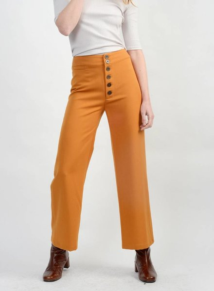 Gabardine Wide Leg Pant - Antique Gold