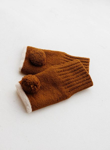 Pom Pom Fingerless Mittens - Brown