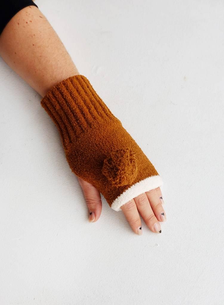 Pom Pom Fingerless Mittens - Brown