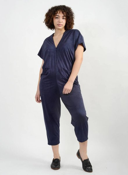 Knit Suede Triangle Jumpsuit - Gucci Blue