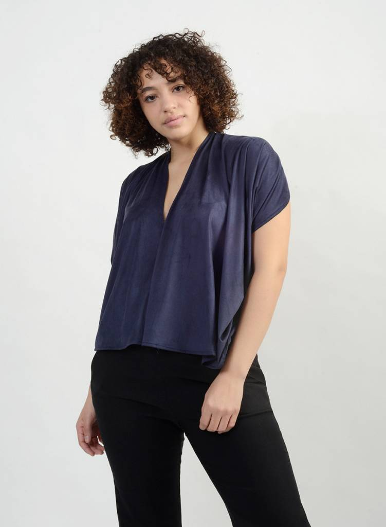 Knit Suede Abstraction Top - Gucci Blue