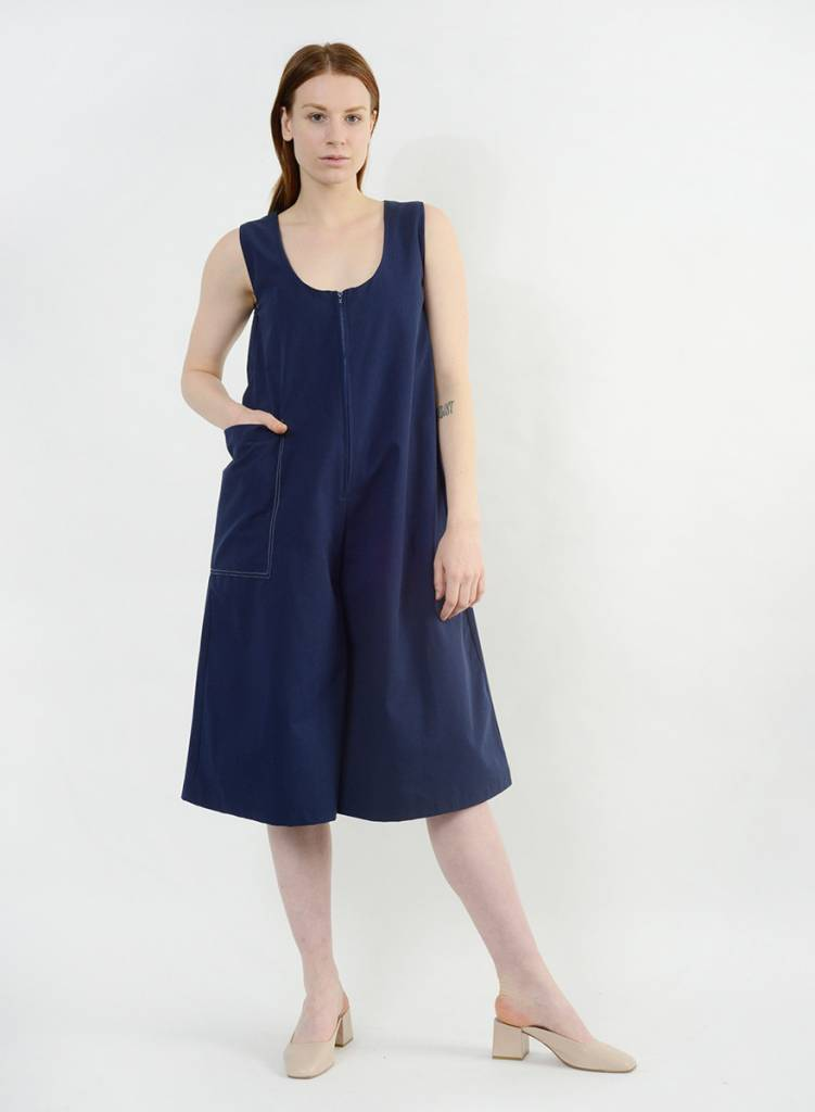 Stitched Pocket Jumpsuit - Navy