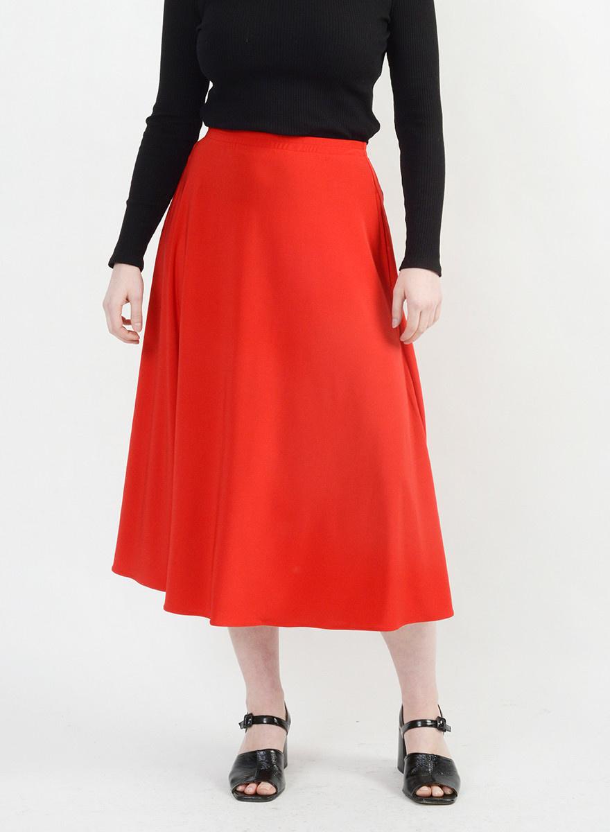 Long Circle Skirt - Red