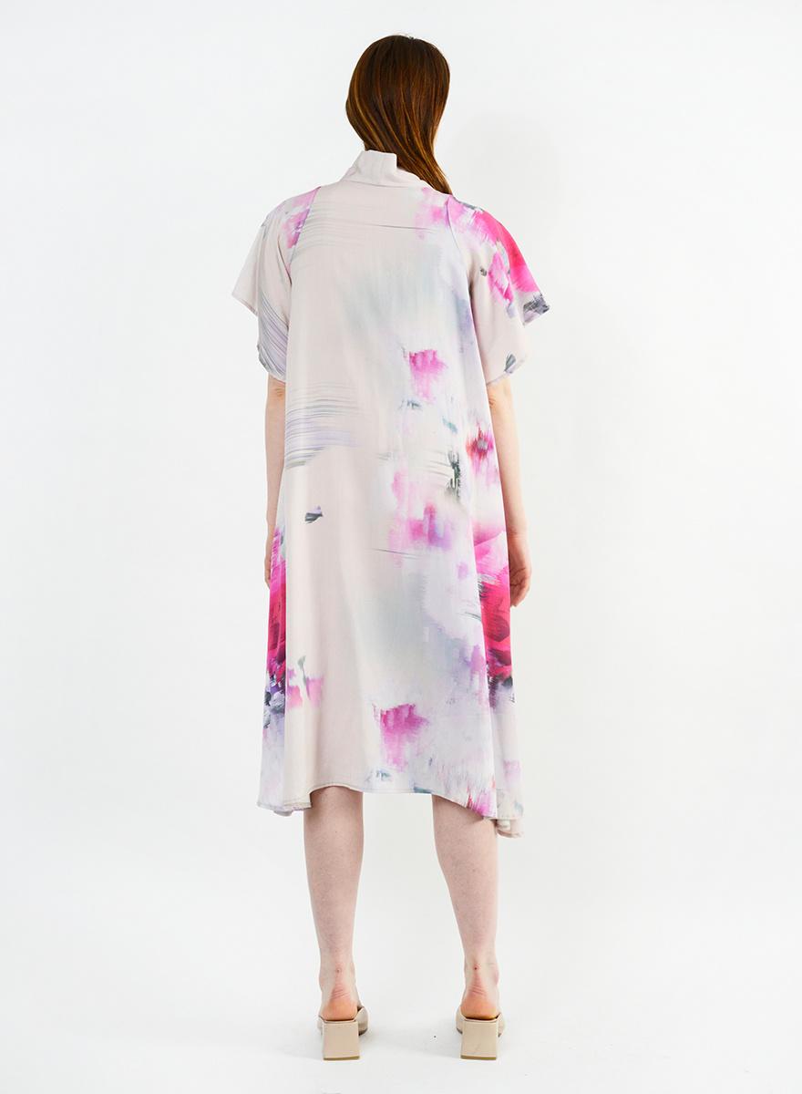 Neck Tie Dress - Watercolor Floral