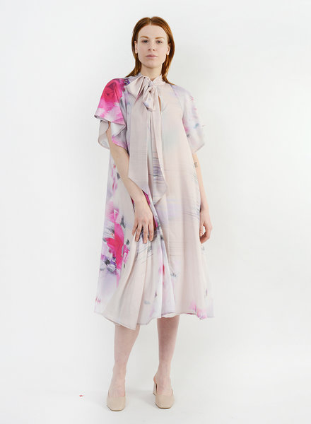 Neck Tie Dress - Watercolor Floral