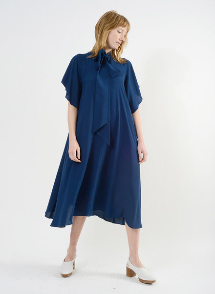 Neck Tie Dress - Blue