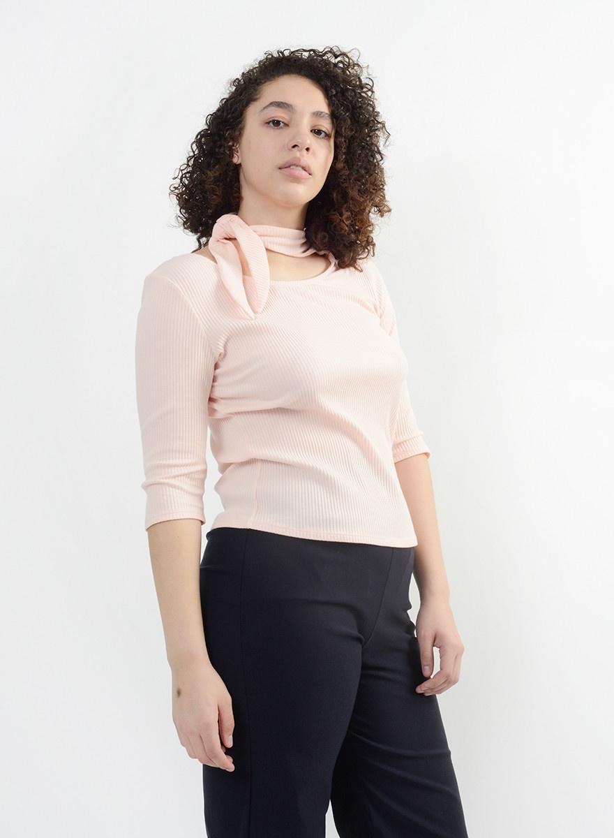 French Tie Cotton Tee - Flamingo