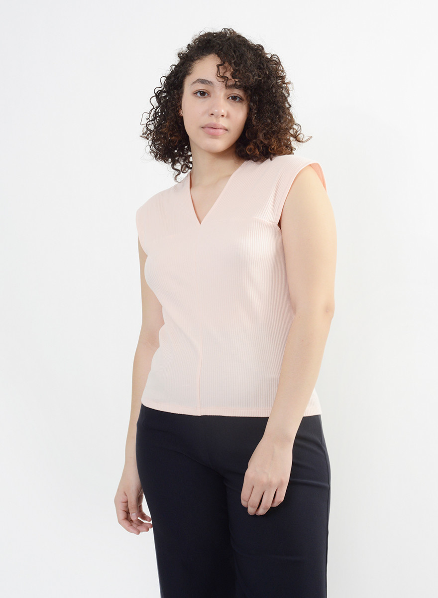 Wide Strap Cotton Tee - Flamingo