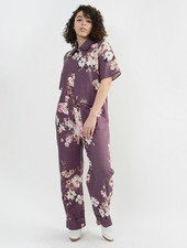 Linen Collared Jumpsuit - Burgundy Floral