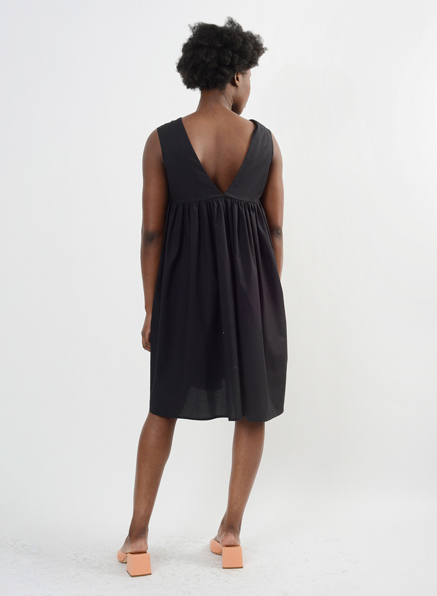 Gathered Back Babydoll Dress - Black