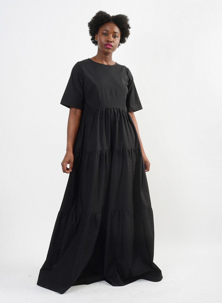T Shirt Tiered Gown - Black