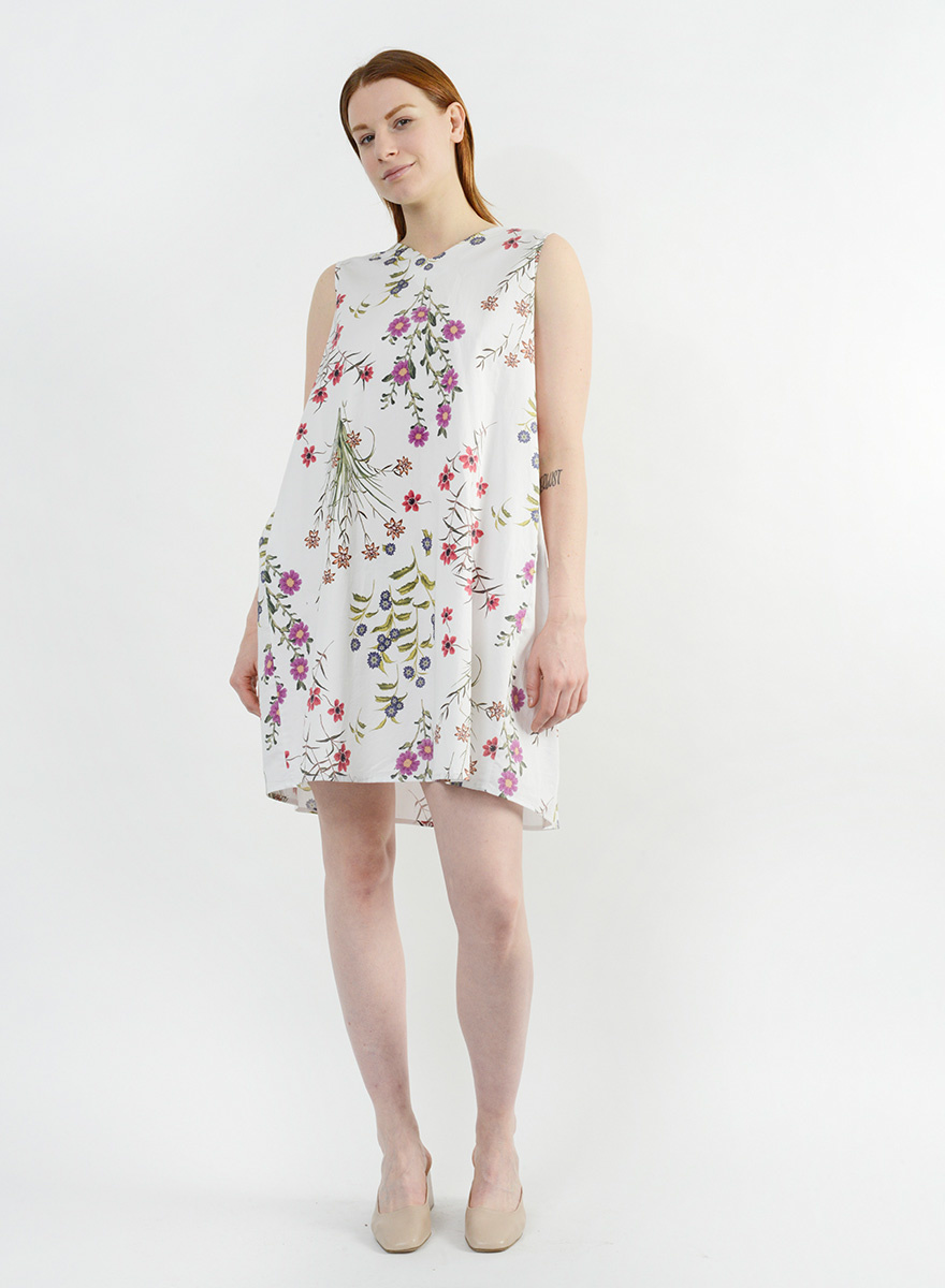 Gathered Back Babydoll Dress - Teeny Floral