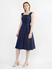 Stitched Picnic Dress - Navy