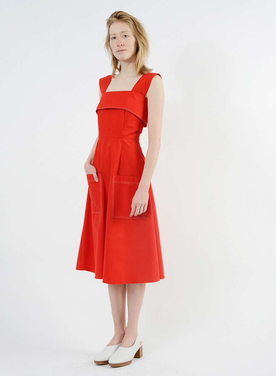Stitched Picnic Dress - Red