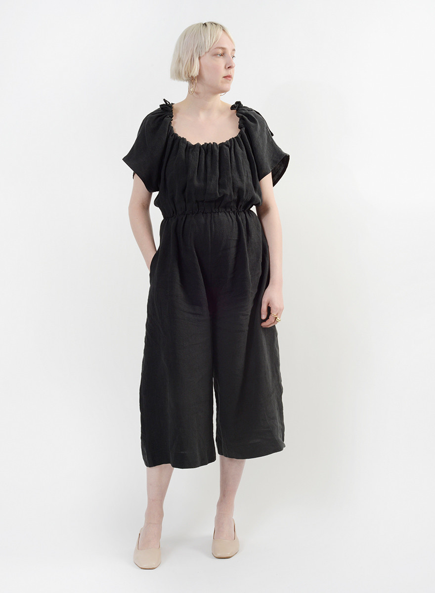 Ruched Jumpsuit - Black