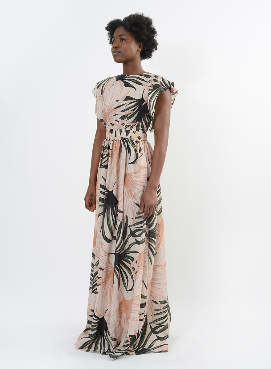 Camilla Cocktail Gown - Palm Print