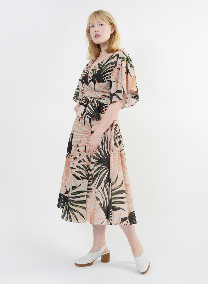 Bali Wrap Dress - Palm Print