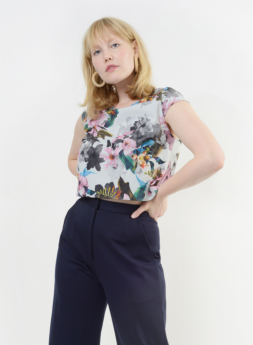 MiMi Frocks Floral Shell Top with Cap
