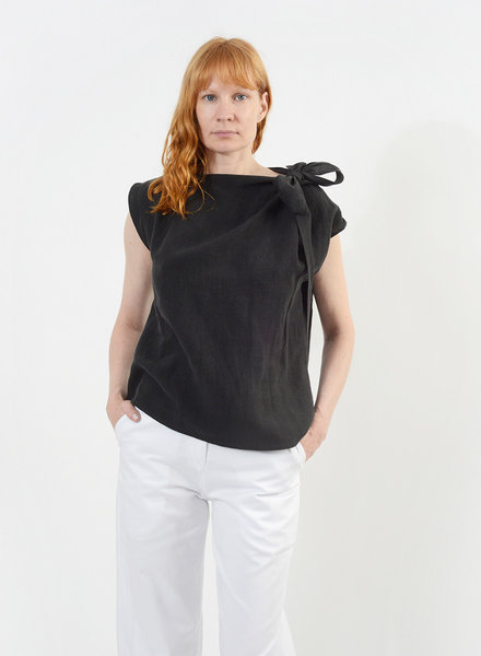 Linen Neck Tie Shirt - Black