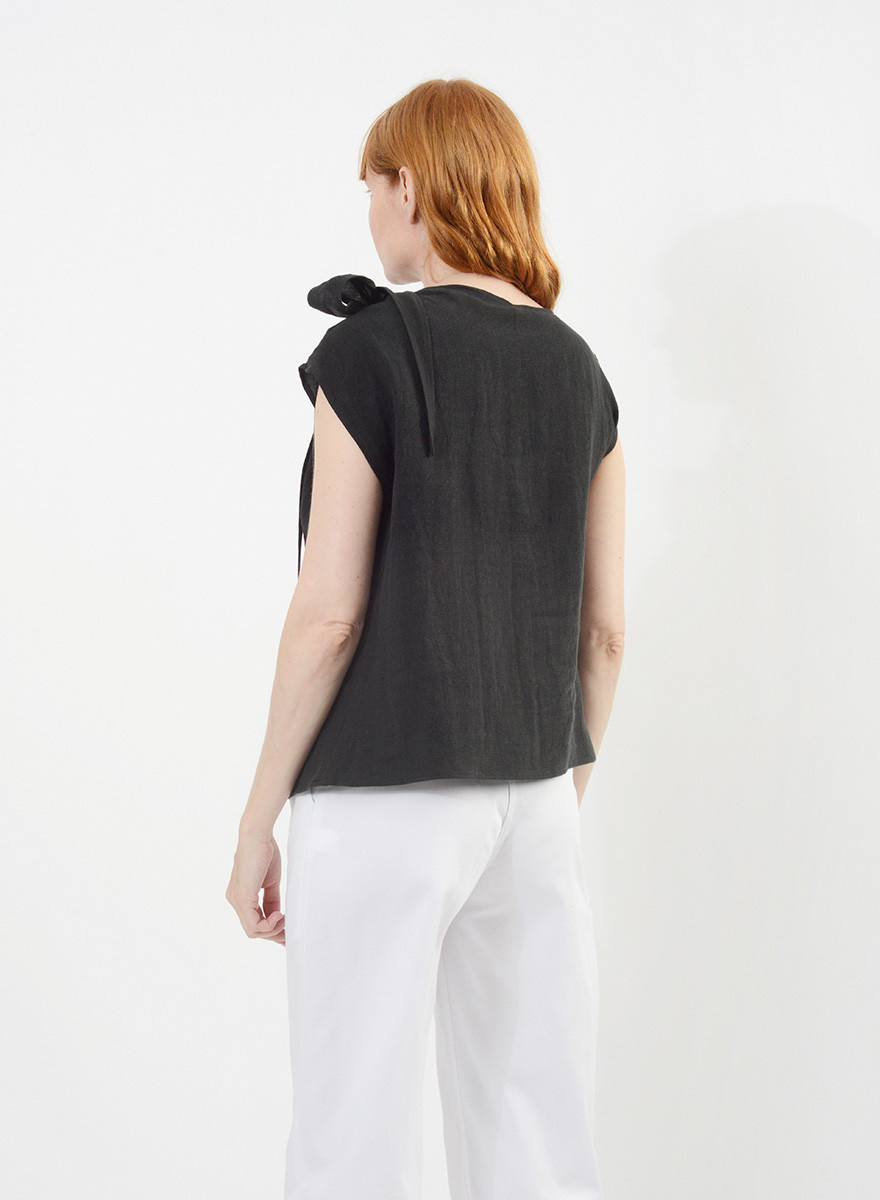 Linen Neck Tie Shirt - Black