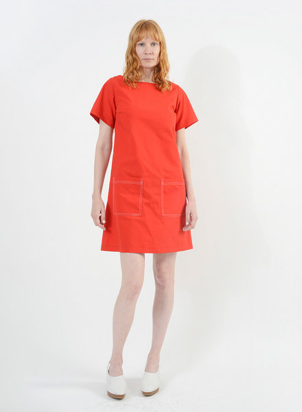Stitched Shift Dress - Red