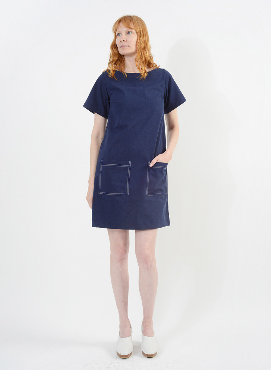 Stitched Shift Dress - Navy