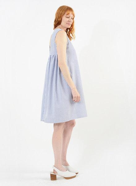 Gathered Back Babydoll Dress - Navy Seersucker