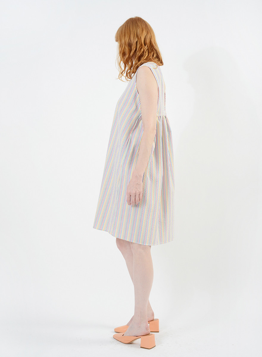 Gathered Back Babydoll Dress - Rainbow Seersucker