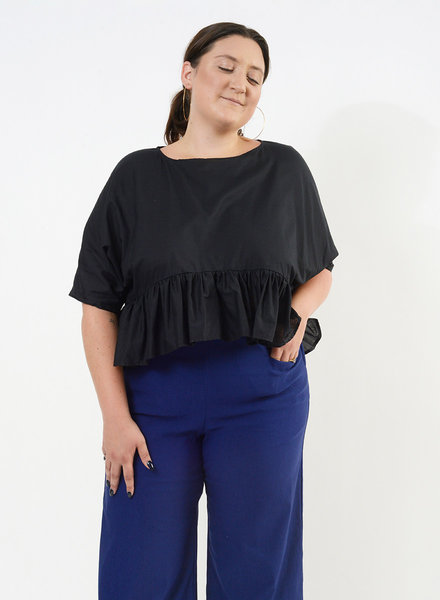 Ruffle Bottom Top - Black