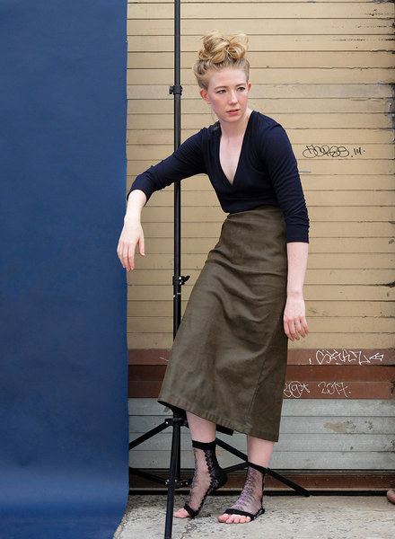 Waxed Relaxed Skirt - Khaki