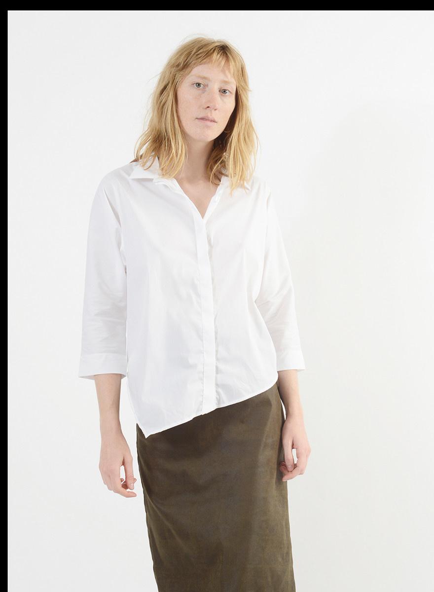 Diagonal Hem Shirt - White