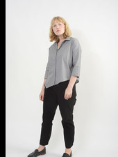 Diagonal Hem Shirt - Grey Melange