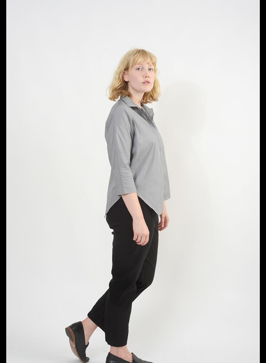 Diagonal Hem Shirt - Grey Melange
