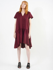 V Neck Buddy Dress - Burgundy
