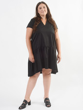V Neck Buddy Dress - Black