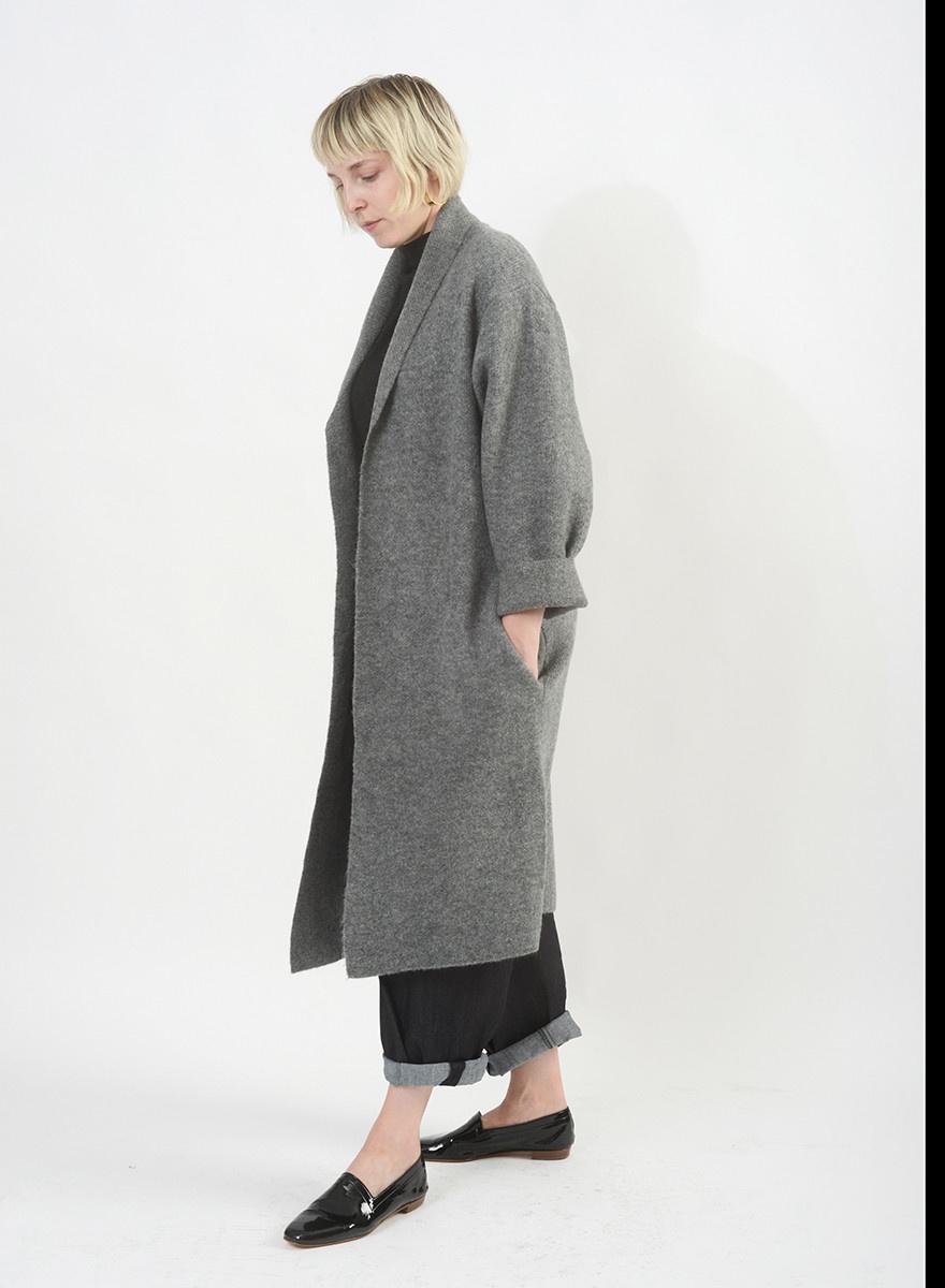 Long Classic Cardigan - Grey