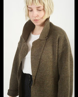 Notched Sweater Jacket - Brown