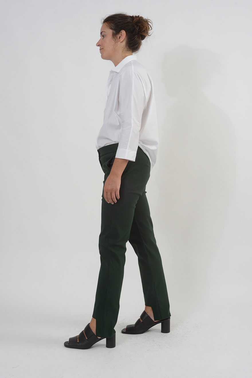 Cut Out Pant - Bottle Green