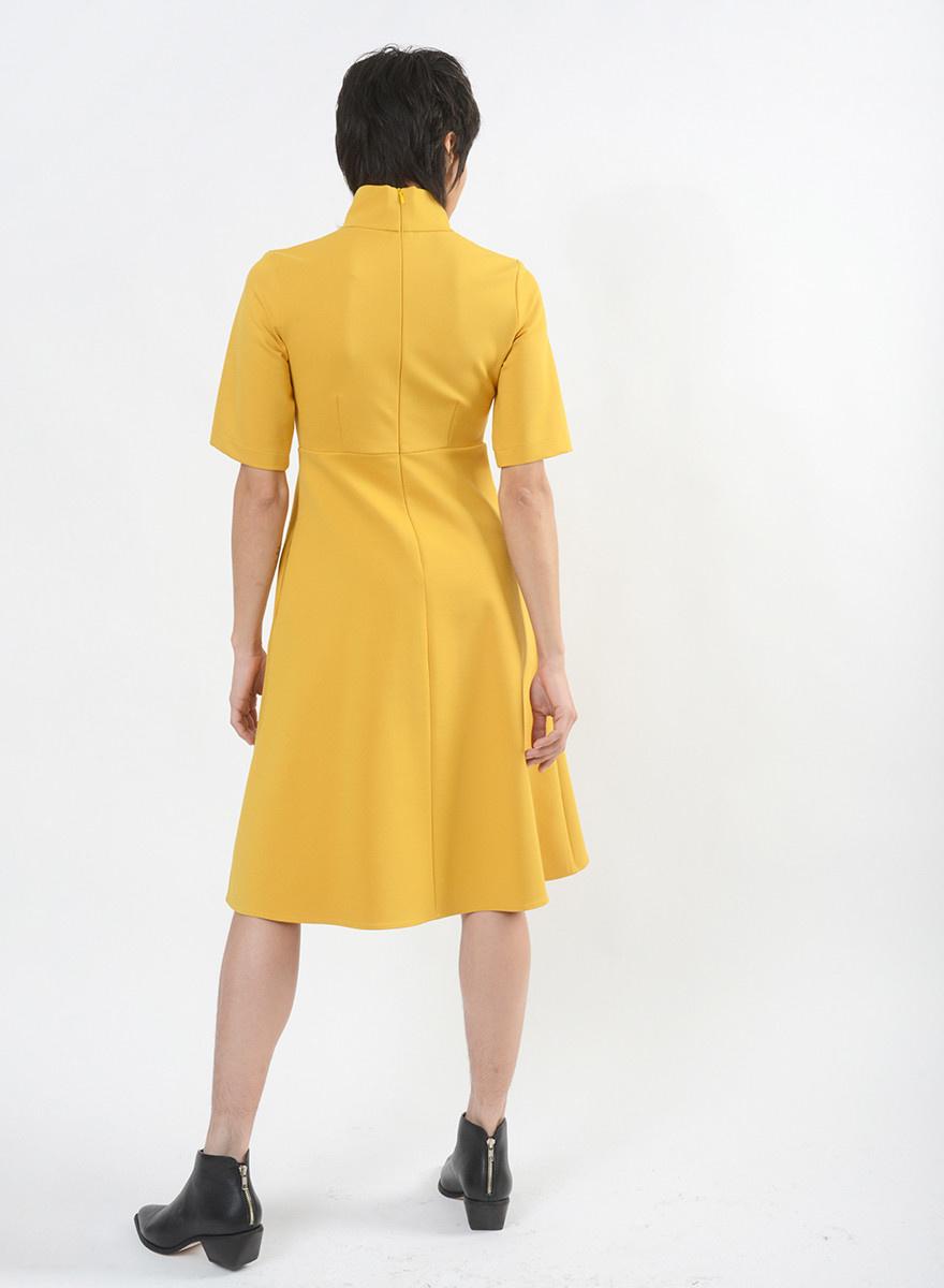 Invert Pleat Dress - Mustard