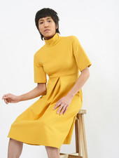 Invert Pleat Dress - Mustard