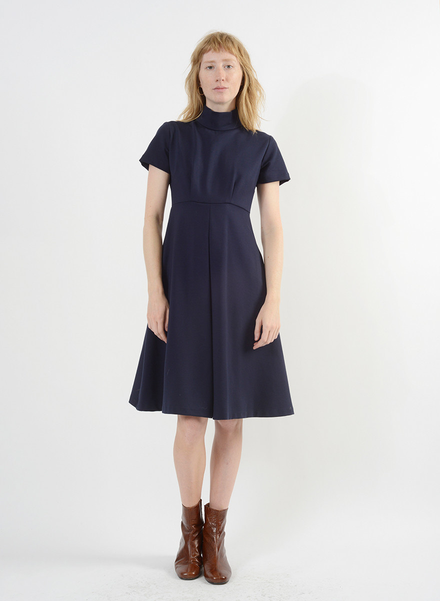 Invert Pleat Dress - Ink