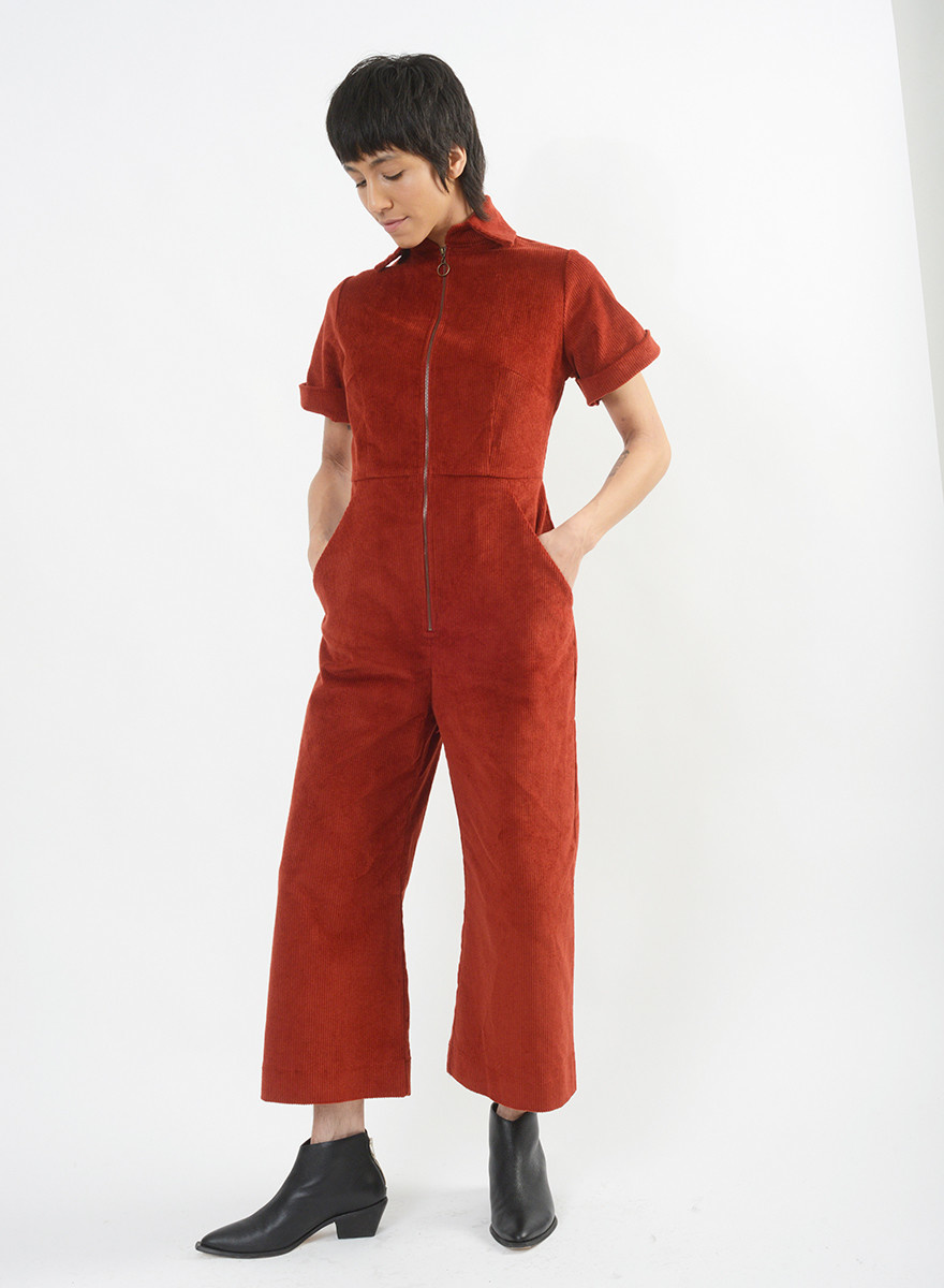 Cord Phrase Jumpsuit - Brick