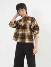 Flannel Poet Top - Chestnut