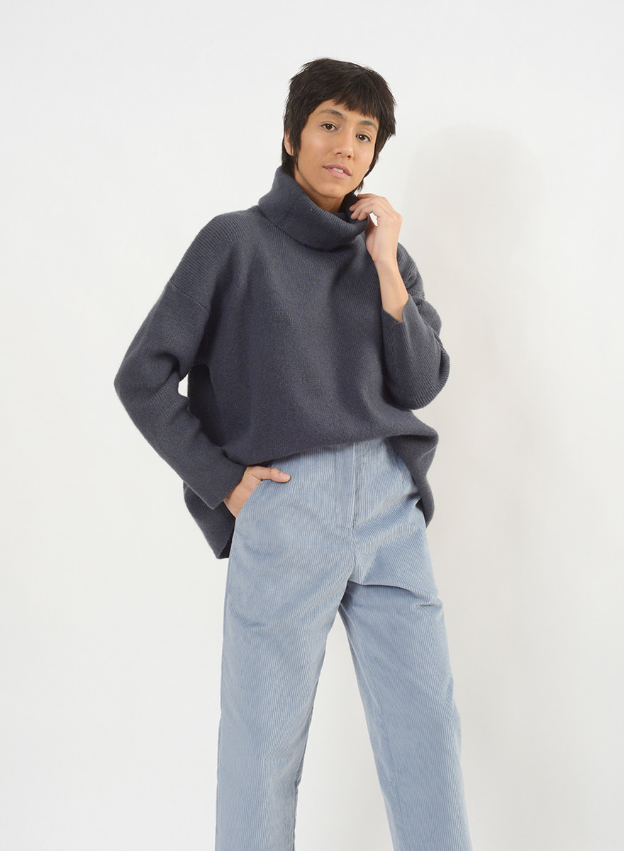 Oversized Turtleneck Sweater - Denim