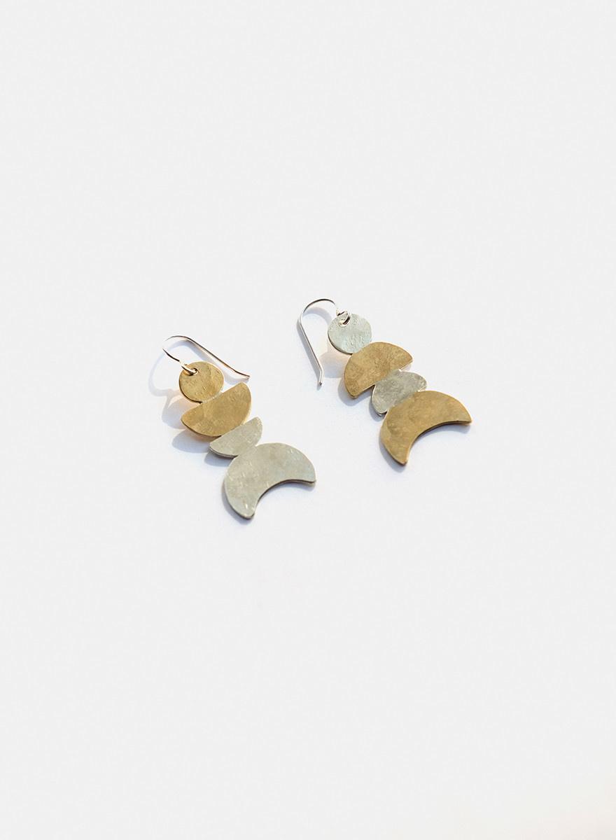 Knuckle Kiss - Many Moons Earrings - Brass/Silver